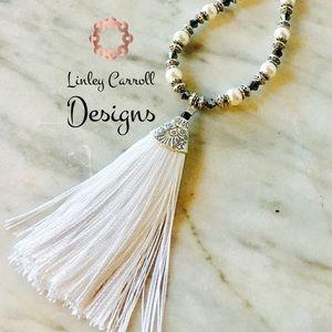 Jewelry - Swarovski Black Diamond Crystal & Pearl Necklace